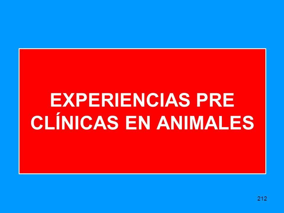 212 EXPERIENCIAS PRE CLÍNICAS EN ANIMALES