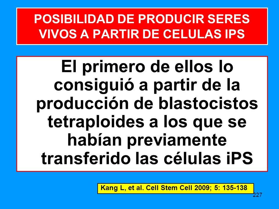 227 El primero de ellos lo consiguió a partir de la producción de blastocistos tetraploides a los que se habían previamente transferido las células iPS POSIBILIDAD DE PRODUCIR SERES VIVOS A PARTIR DE CELULAS IPS Kang L, et al.