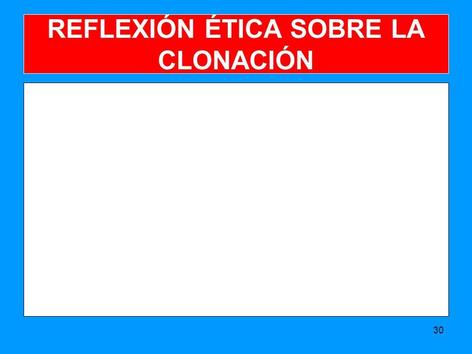 REFLEXIÓN ÉTICA SOBRE LA CLONACIÓN 30