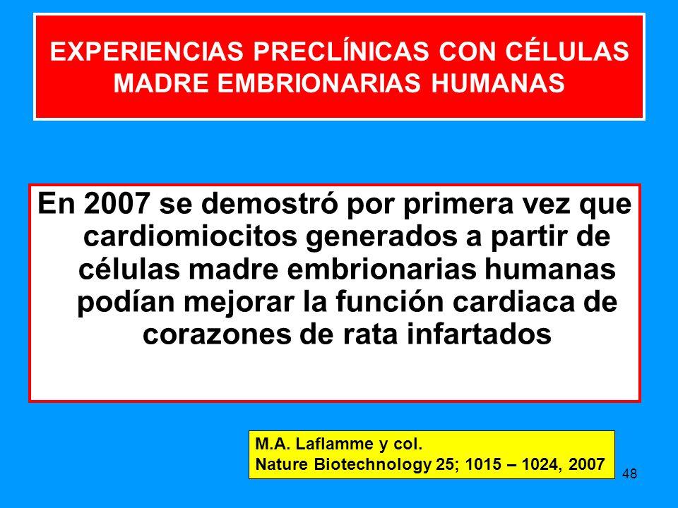 48 EXPERIENCIAS PRECLÍNICAS CON CÉLULAS MADRE EMBRIONARIAS HUMANAS En 2007 se demostró por primera vez que cardiomiocitos generados a partir de células madre embrionarias humanas podían mejorar la función cardiaca de corazones de rata infartados M.A.
