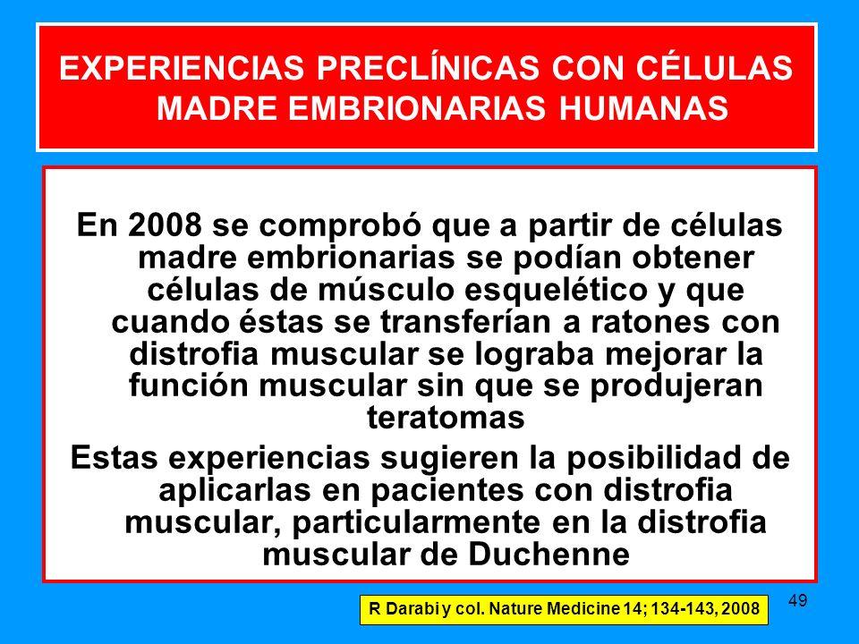 49 En 2008 se comprobó que a partir de células madre embrionarias se podían obtener células de músculo esquelético y que cuando éstas se transferían a ratones con distrofia muscular se lograba mejorar la función muscular sin que se produjeran teratomas Estas experiencias sugieren la posibilidad de aplicarlas en pacientes con distrofia muscular, particularmente en la distrofia muscular de Duchenne EXPERIENCIAS PRECLÍNICAS CON CÉLULAS MADRE EMBRIONARIAS HUMANAS R Darabi y col.