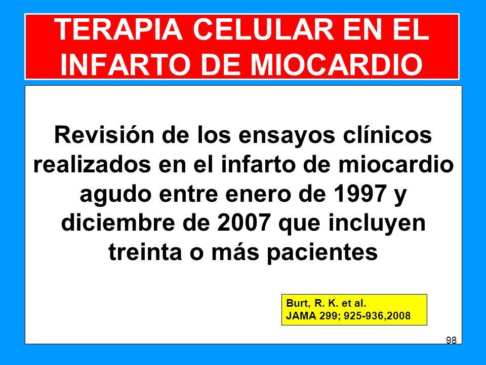 TERAPIA CELULAR EN EL INFARTO DE MIOCARDIO Revisión de los ensayos clínicos realizados en el infarto de miocardio agudo entre enero de 1997 y diciembre de 2007 que incluyen treinta o más pacientes 98 Burt, R.