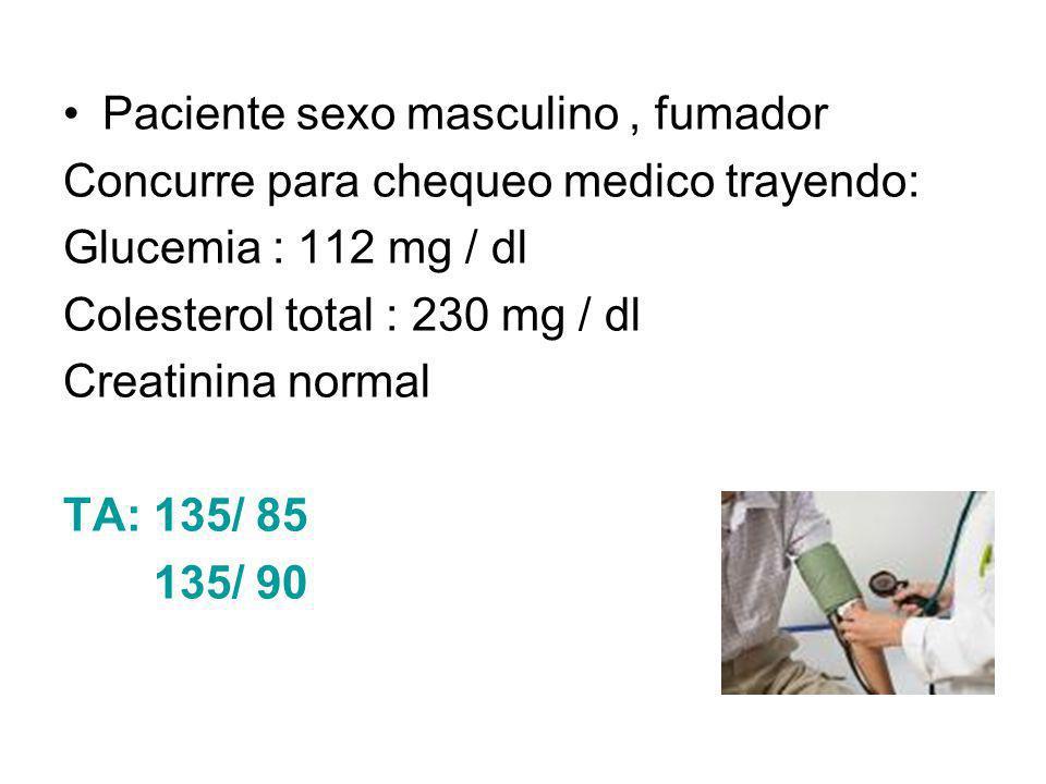 Paciente sexo masculino, fumador Concurre para chequeo medico trayendo: Glucemia : 112 mg / dl Colesterol total : 230 mg / dl Creatinina normal TA: 13