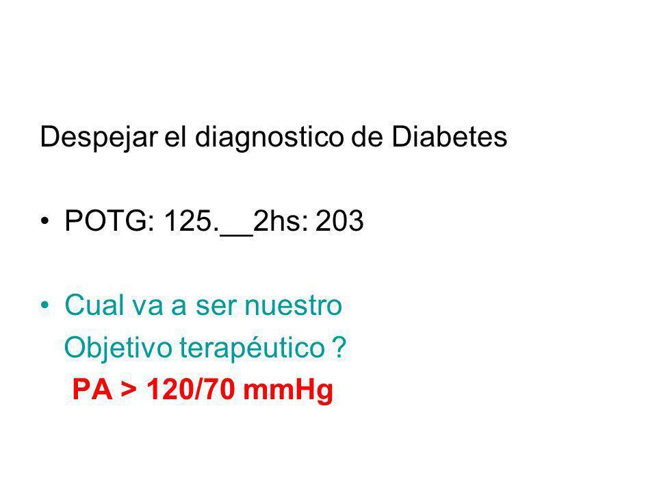 Despejar el diagnostico de Diabetes POTG: 125.__2hs: 203 Cual va a ser nuestro Objetivo terapéutico ? PA > 120/70 mmHg