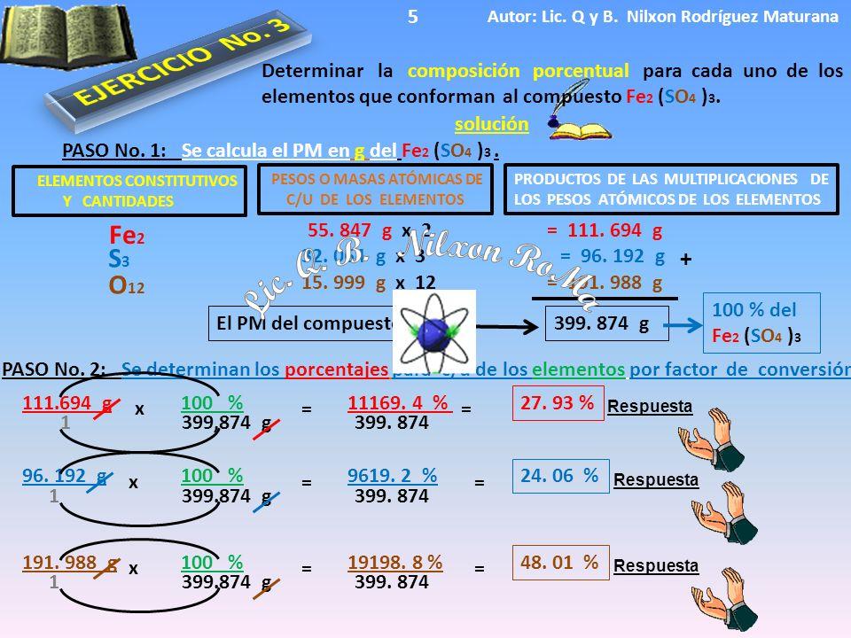ELEMENTOS CONSTITUTIVOS Y CANTIDADES Respuesta El PM del compuesto es solución Determinar la composición porcentual para cada uno de los elementos que conforman al compuesto Fe 2 (SO 4 ) 3.