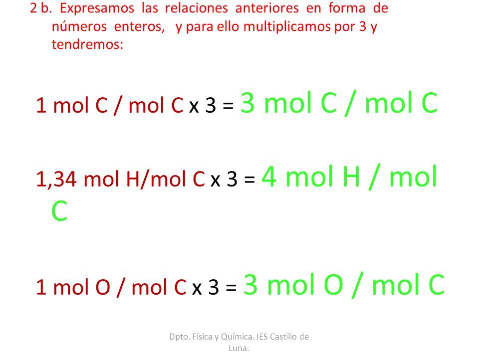 2 b. Expresamos las relaciones anteriores en forma de números enteros, y para ello multiplicamos por 3 y tendremos: 1 mol C / mol C x 3 = 3 mol C / mo