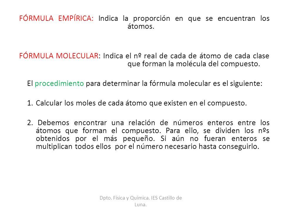 FÓRMULA EMPÍRICA: Indica la proporción en que se encuentran los átomos. FÓRMULA MOLECULAR: Indica el nº real de cada de átomo de cada clase que forman