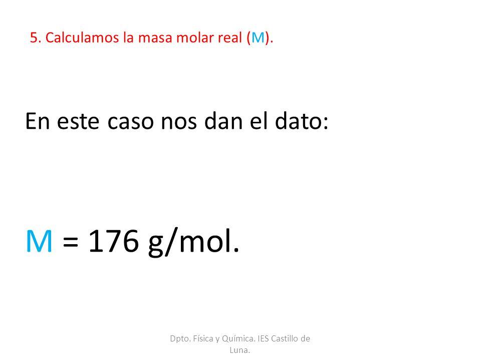 5. Calculamos la masa molar real (M). En este caso nos dan el dato: M = 176 g/mol. Dpto. Física y Química. IES Castillo de Luna.