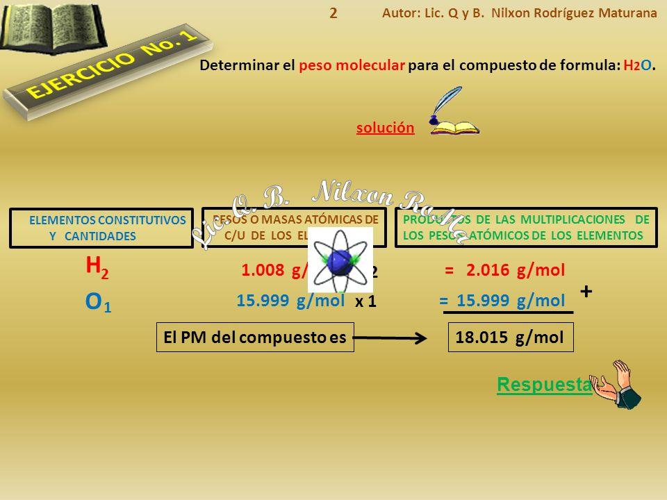 ELEMENTOS CONSTITUTIVOS Y CANTIDADES Respuesta El PM del compuesto es solución Determinar el peso molecular para el compuesto de formula: H 2 O.