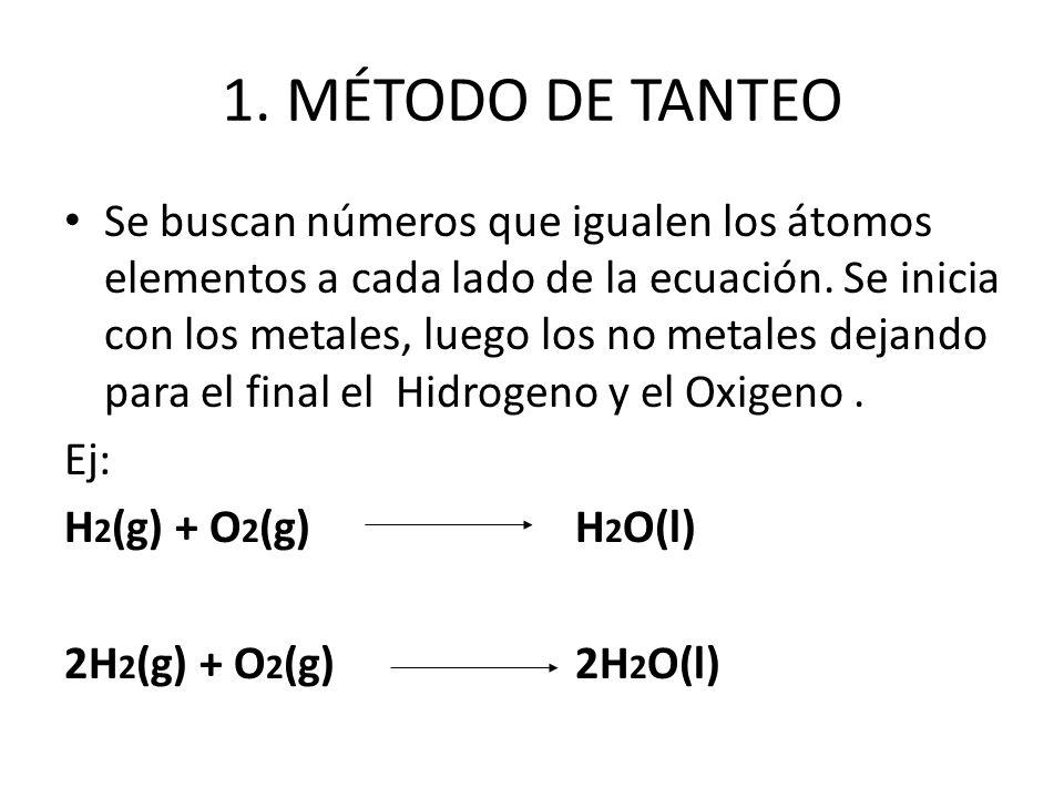 1. MÉTODO DE TANTEO Se buscan números que igualen los átomos elementos a cada lado de la ecuación. Se inicia con los metales, luego los no metales dej