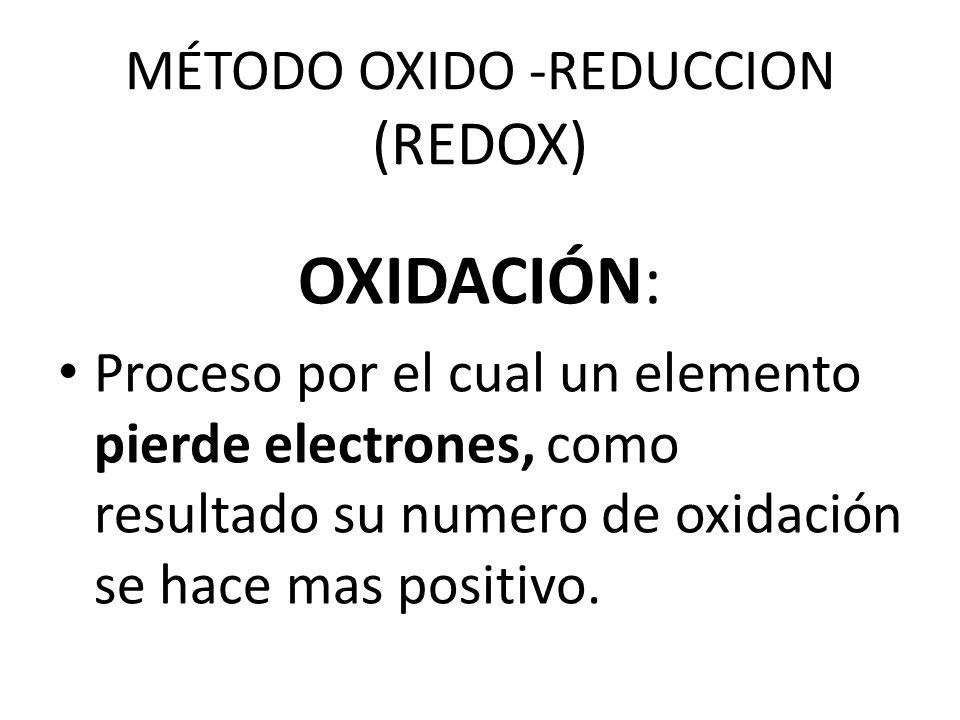 MÉTODO OXIDO -REDUCCION (REDOX) OXIDACIÓN: Proceso por el cual un elemento pierde electrones, como resultado su numero de oxidación se hace mas positivo.