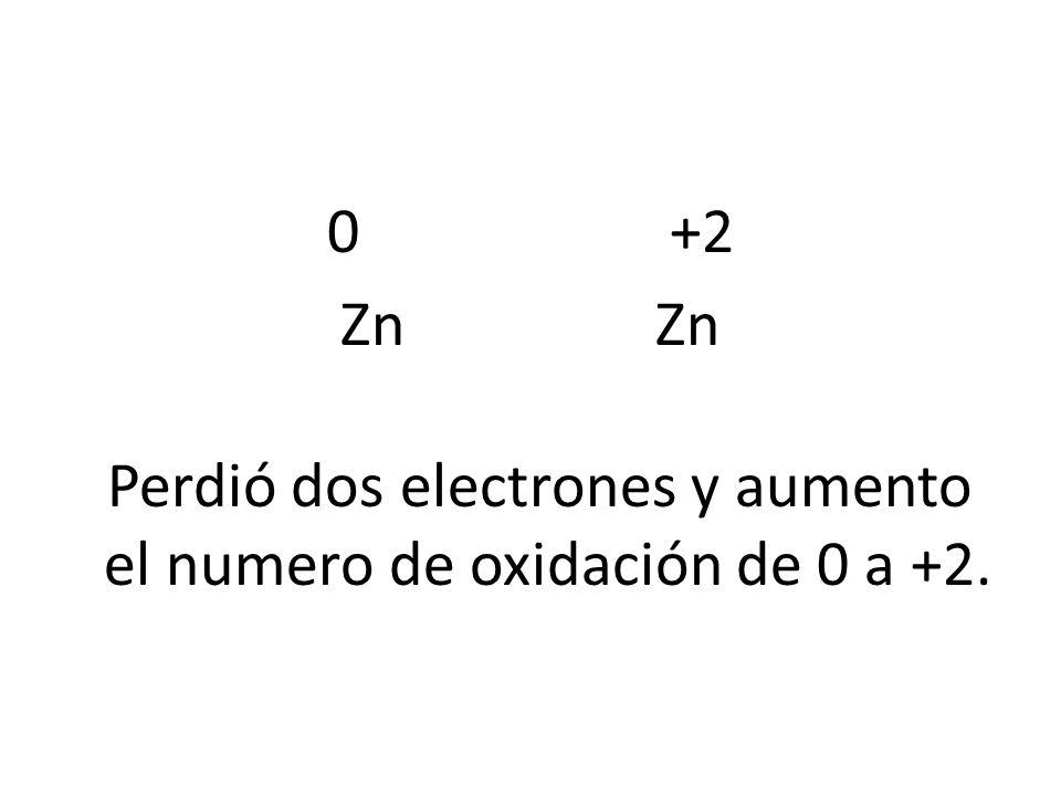0 +2 Zn Perdió dos electrones y aumento el numero de oxidación de 0 a +2.