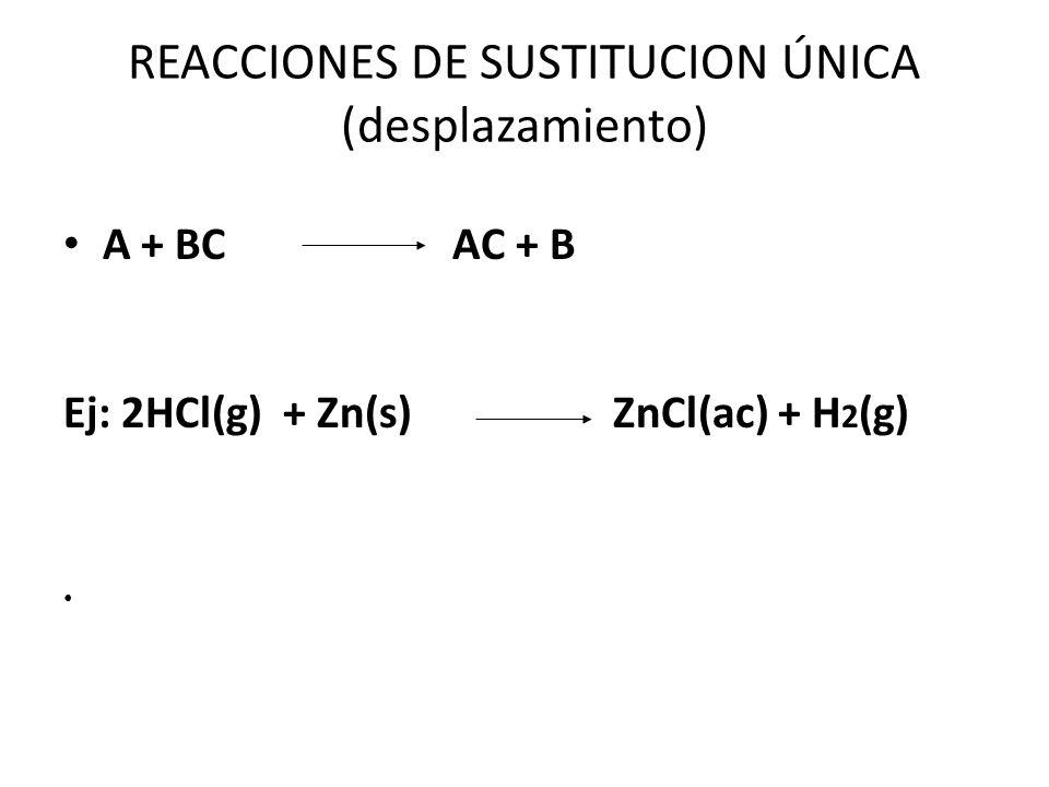 REACCIONES DE DOBLE SUSTITUCION (DOBLE DESCOMPOSICION) AB + CD AD + CB Ej: 2NaCl(ac) + CaSO 4 (ac) CaCl 2 (ac) + Na 2 SO 4 (ac)