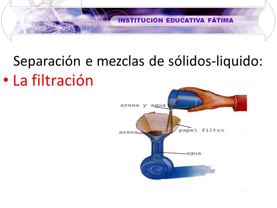 INSTITUCIÓN EDUCATIVA FÁTIMA Separación e mezclas de sólidos-liquido: La filtración