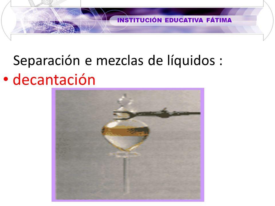 INSTITUCIÓN EDUCATIVA FÁTIMA Separación e mezclas de líquidos : decantación
