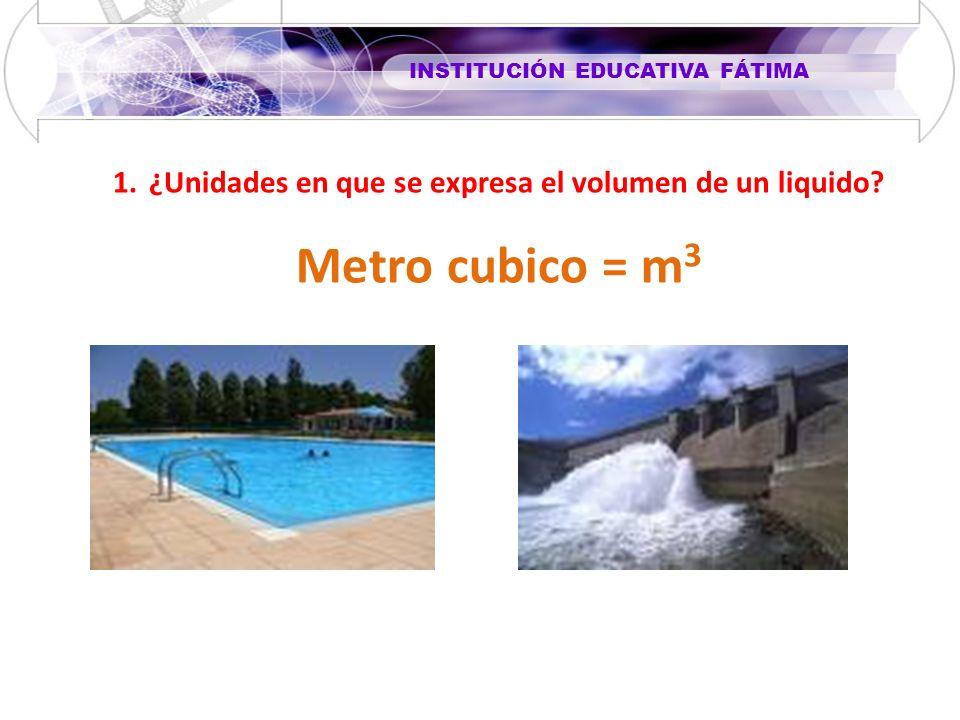 INSTITUCIÓN EDUCATIVA FÁTIMA 1.¿Unidades en que se expresa el volumen de un liquido? Metro cubico = m 3