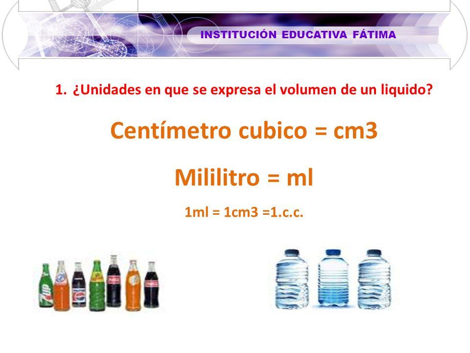 INSTITUCIÓN EDUCATIVA FÁTIMA 1.¿Unidades en que se expresa el volumen de un liquido? Centímetro cubico = cm3 Mililitro = ml 1ml = 1cm3 =1.c.c.