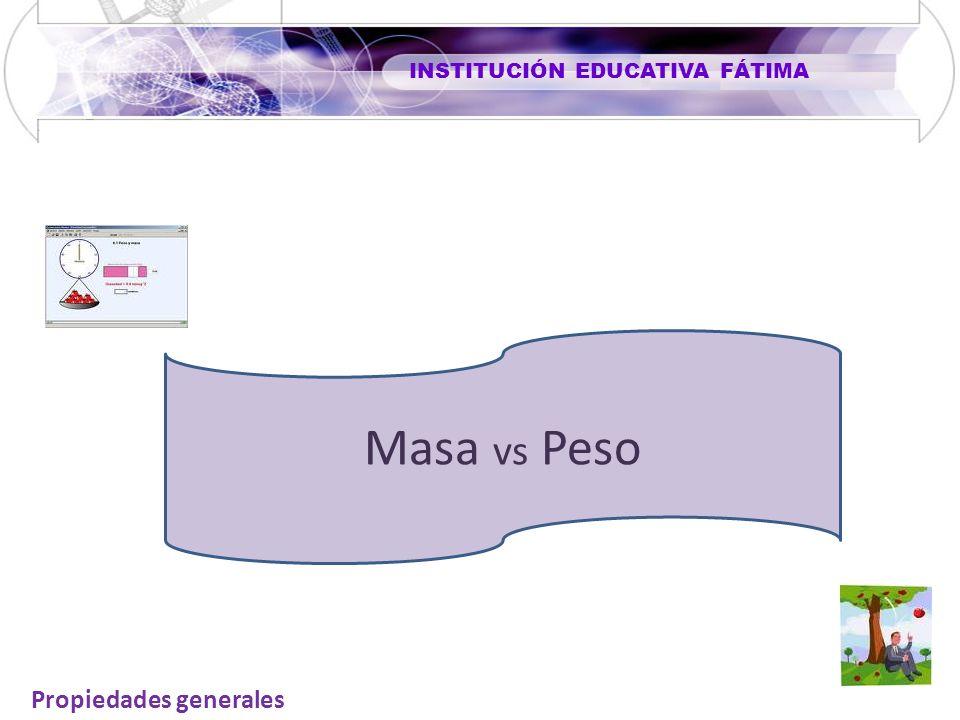 INSTITUCIÓN EDUCATIVA FÁTIMA Masa vs Peso Propiedades generales