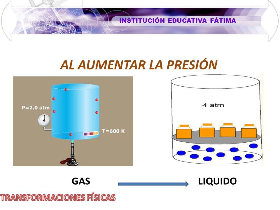 INSTITUCIÓN EDUCATIVA FÁTIMA AL AUMENTAR LA PRESIÓN GASLIQUIDO