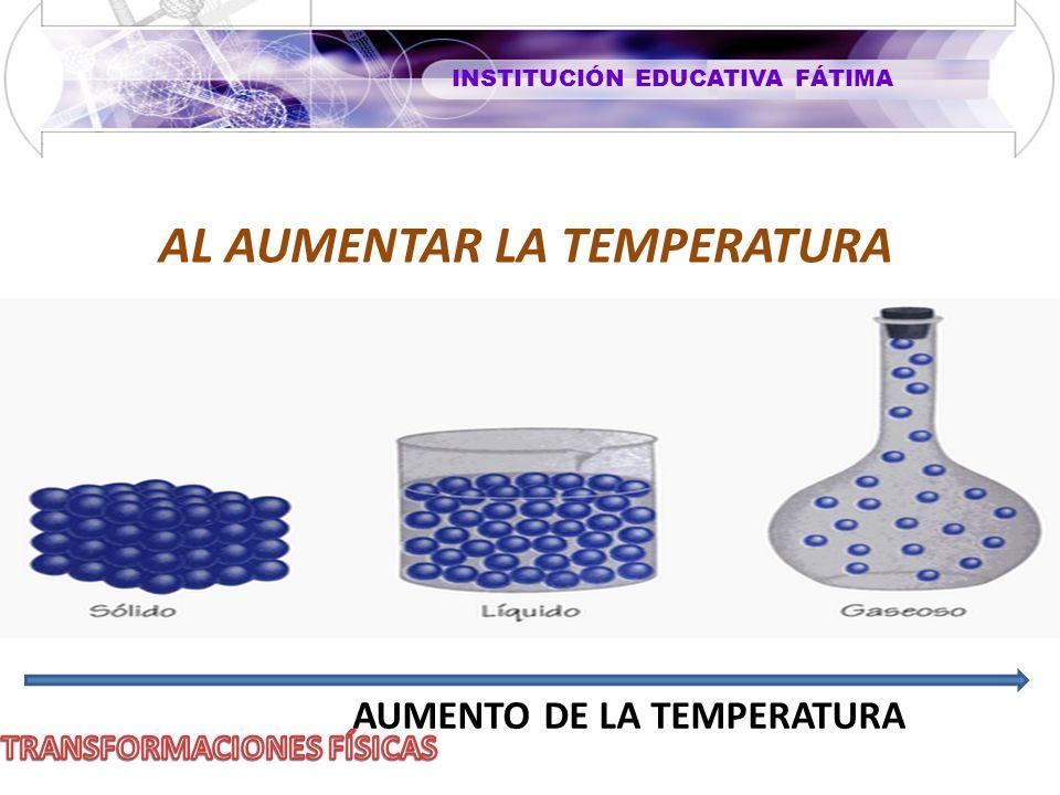 INSTITUCIÓN EDUCATIVA FÁTIMA AL AUMENTAR LA TEMPERATURA AUMENTO DE LA TEMPERATURA