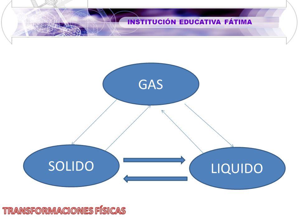 INSTITUCIÓN EDUCATIVA FÁTIMA GAS SOLIDO LIQUIDO