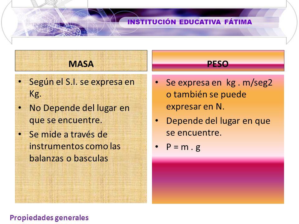 INSTITUCIÓN EDUCATIVA FÁTIMA MASA Según el S.I. se expresa en Kg. No Depende del lugar en que se encuentre. Se mide a través de instrumentos como las