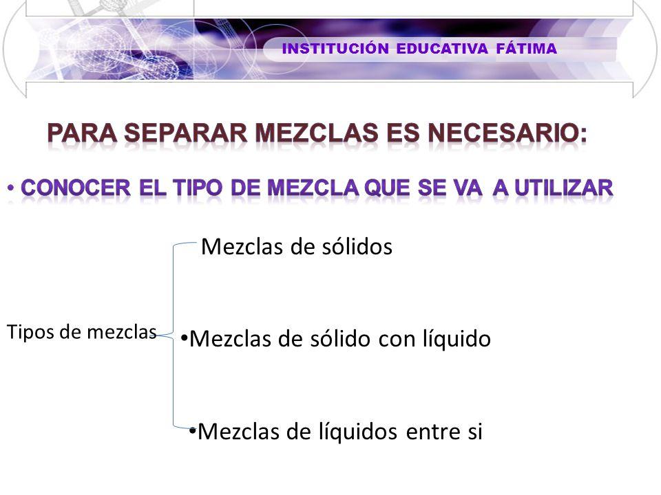 Mezclas de sólidos Mezclas de sólido con líquido Mezclas de líquidos entre si Tipos de mezclas