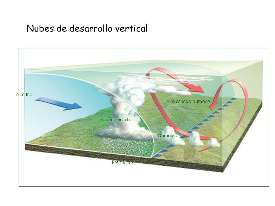 Nubes de desarrollo vertical Aire frío Cúmulonimbos Aire cálido y húmedo Cúmulos Frente frío