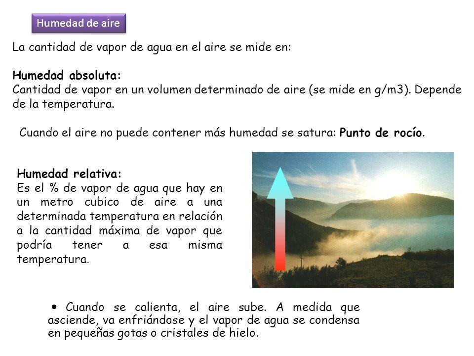 La cantidad de vapor de agua en el aire se mide en: Humedad absoluta: Cantidad de vapor en un volumen determinado de aire (se mide en g/m3). Depende d