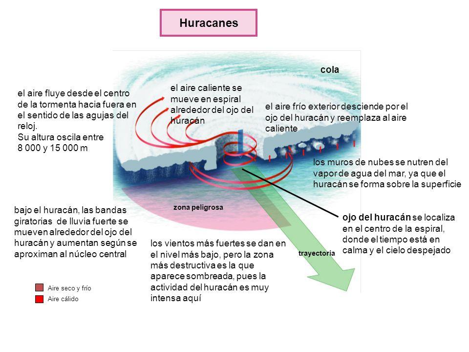 ojo del huracán se localiza en el centro de la espiral, donde el tiempo está en calma y el cielo despejado los muros de nubes se nutren del vapor de a