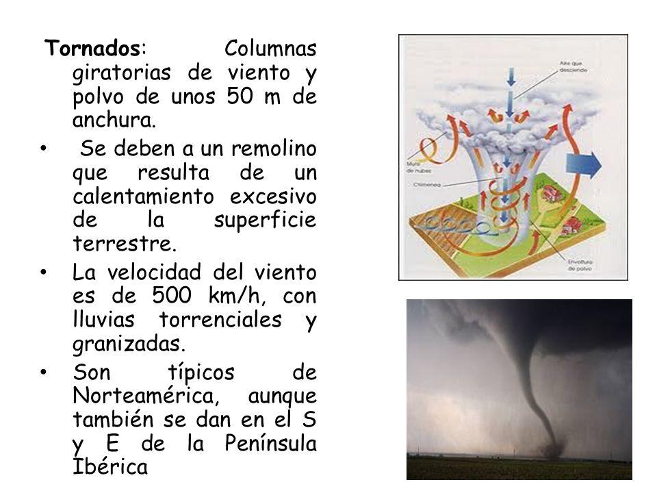 Tornados: Columnas giratorias de viento y polvo de unos 50 m de anchura. Se deben a un remolino que resulta de un calentamiento excesivo de la superfi