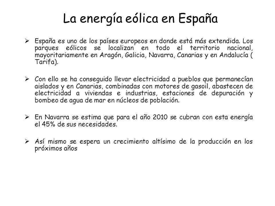 La energía eólica en España España es uno de los países europeos en donde está más extendida. Los parques eólicos se localizan en todo el territorio n