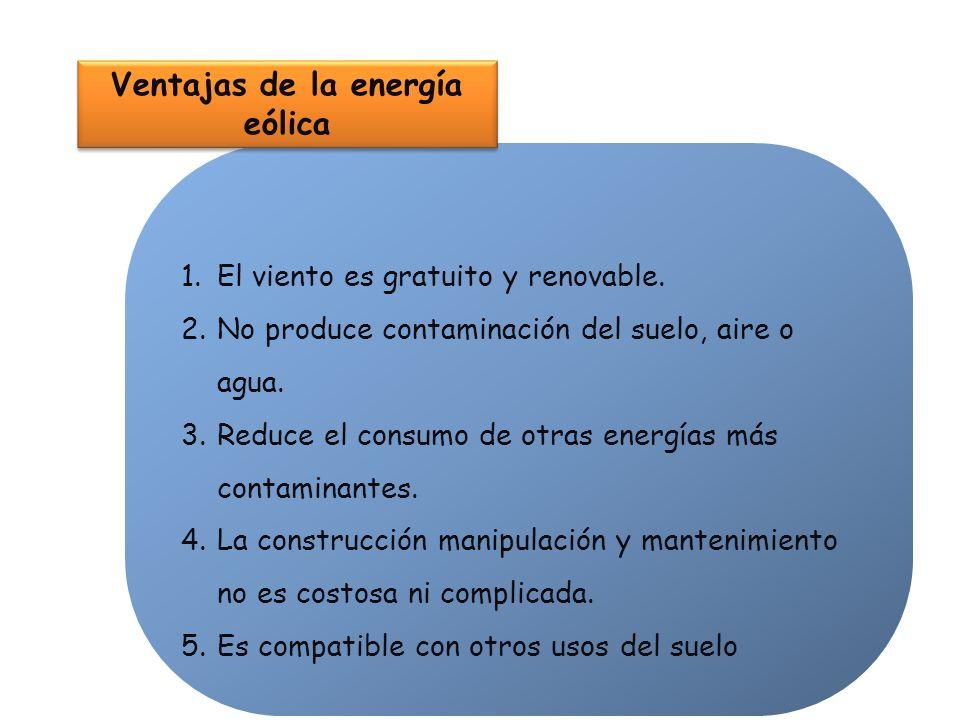 1.El viento es gratuito y renovable. 2.No produce contaminación del suelo, aire o agua. 3.Reduce el consumo de otras energías más contaminantes. 4.La