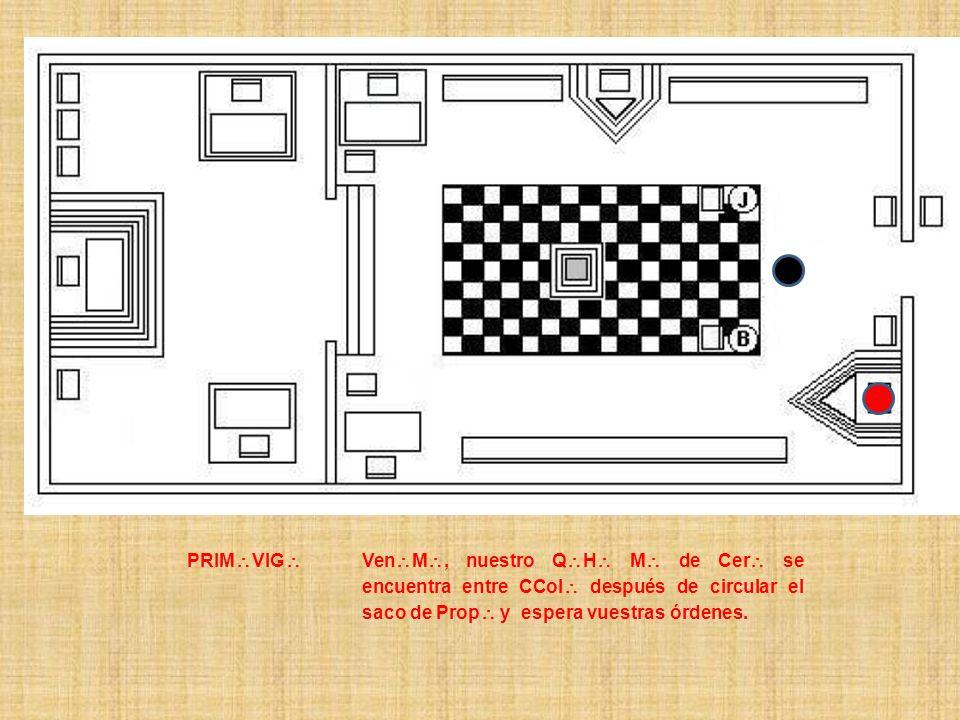 PRIM VIG Ven M, nuestro Q H M de Cer se encuentra entre CCol después de circular el saco de Prop y espera vuestras órdenes.