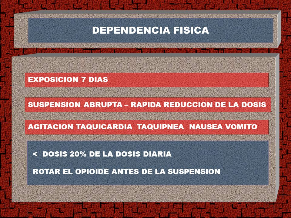 DEPENDENCIA FISICA < DOSIS 20% DE LA DOSIS DIARIA ROTAR EL OPIOIDE ANTES DE LA SUSPENSION SUSPENSION ABRUPTA – RAPIDA REDUCCION DE LA DOSIS EXPOSICION