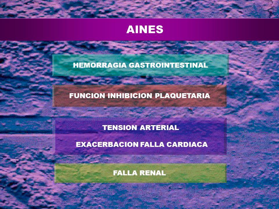 FALLA RENAL HEMORRAGIA GASTROINTESTINAL FUNCION INHIBICION PLAQUETARIA TENSION ARTERIAL EXACERBACION FALLA CARDIACA AINES