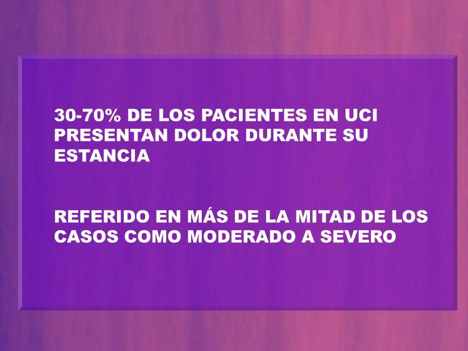 30-70% DE LOS PACIENTES EN UCI PRESENTAN DOLOR DURANTE SU ESTANCIA REFERIDO EN MÁS DE LA MITAD DE LOS CASOS COMO MODERADO A SEVERO