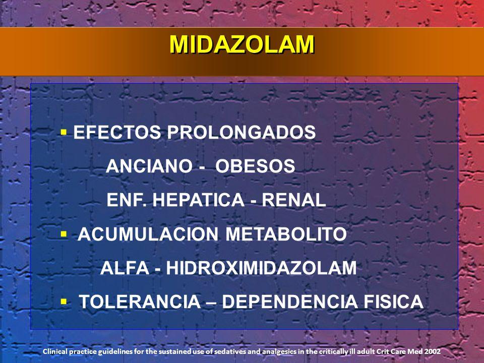 EFECTOS PROLONGADOS ANCIANO - OBESOS ENF. HEPATICA - RENAL ACUMULACION METABOLITO ALFA - HIDROXIMIDAZOLAM TOLERANCIA – DEPENDENCIA FISICA MIDAZOLAM Cl