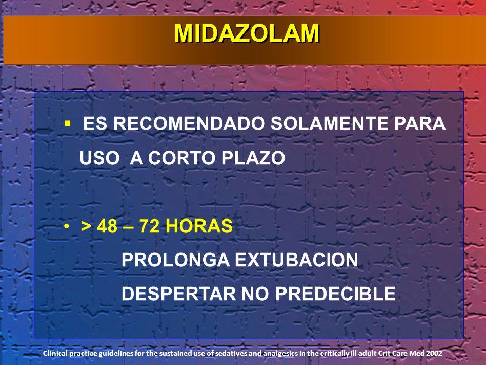 ES RECOMENDADO SOLAMENTE PARA USO A CORTO PLAZO > 48 – 72 HORAS PROLONGA EXTUBACION DESPERTAR NO PREDECIBLE Clinical practice guidelines for the susta