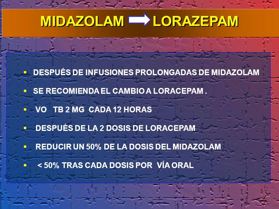 DESPUÉS DE INFUSIONES PROLONGADAS DE MIDAZOLAM SE RECOMIENDA EL CAMBIO A LORACEPAM. VO TB 2 MG CADA 12 HORAS DESPUÉS DE LA 2 DOSIS DE LORACEPAM REDUCI