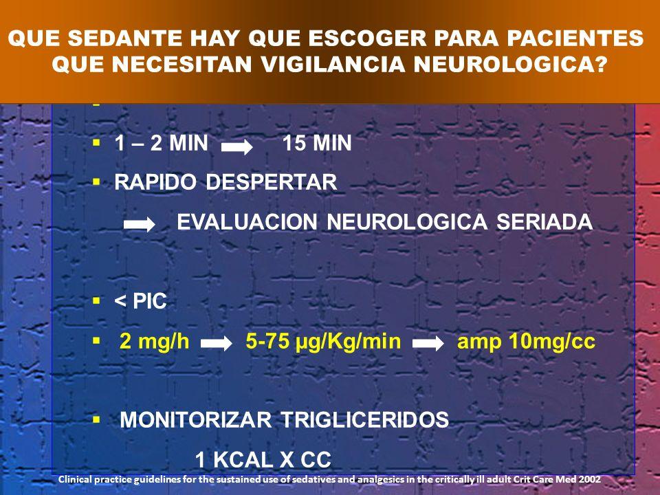 1 – 2 MIN 15 MIN RAPIDO DESPERTAR EVALUACION NEUROLOGICA SERIADA < PIC 2 mg/h 5-75 µg/Kg/min amp 10mg/cc MONITORIZAR TRIGLICERIDOS 1 KCAL X CC QUE SED