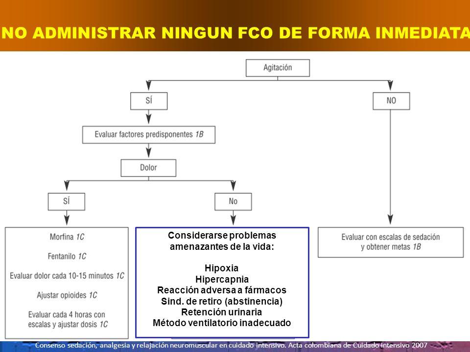 NO ADMINISTRAR NINGUN FCO DE FORMA INMEDIATA Consenso sedación, analgesia y relajación neuromuscular en cuidado intensivo. Acta colombiana de Cuidado