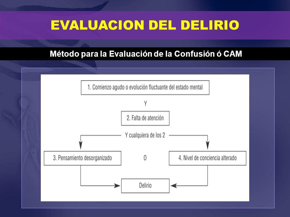 EVALUACION DEL DELIRIO Método para la Evaluación de la Confusión ó CAM