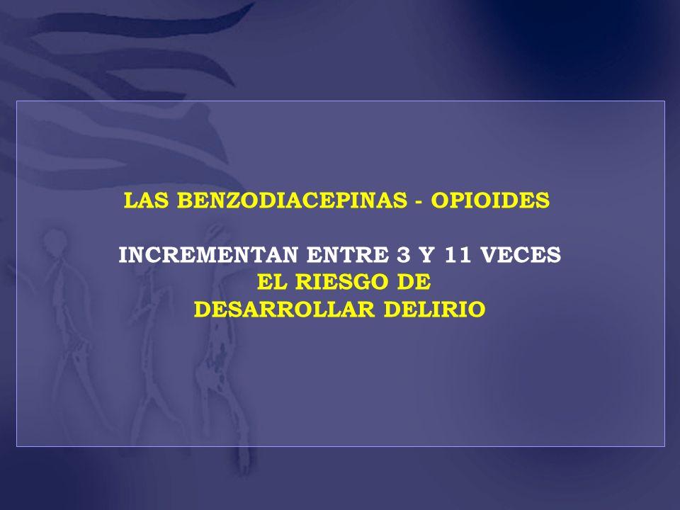 LAS BENZODIACEPINAS - OPIOIDES INCREMENTAN ENTRE 3 Y 11 VECES EL RIESGO DE DESARROLLAR DELIRIO