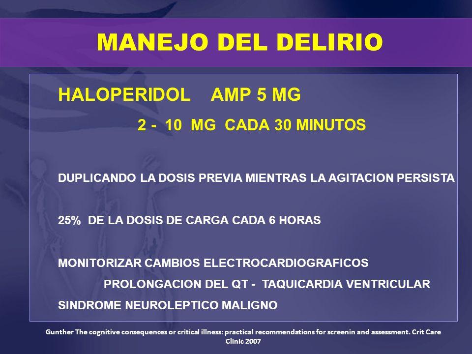 HALOPERIDOL AMP 5 MG 2 - 10 MG CADA 30 MINUTOS DUPLICANDO LA DOSIS PREVIA MIENTRAS LA AGITACION PERSISTA 25% DE LA DOSIS DE CARGA CADA 6 HORAS MONITOR