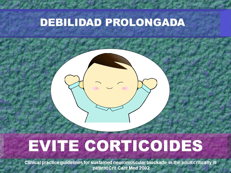 DEBILIDAD PROLONGADA H+H+ H+H+ Clinical practice guidelines for sustained neuromuscular blockade in the adult critically ill patient Crit Care Med 200