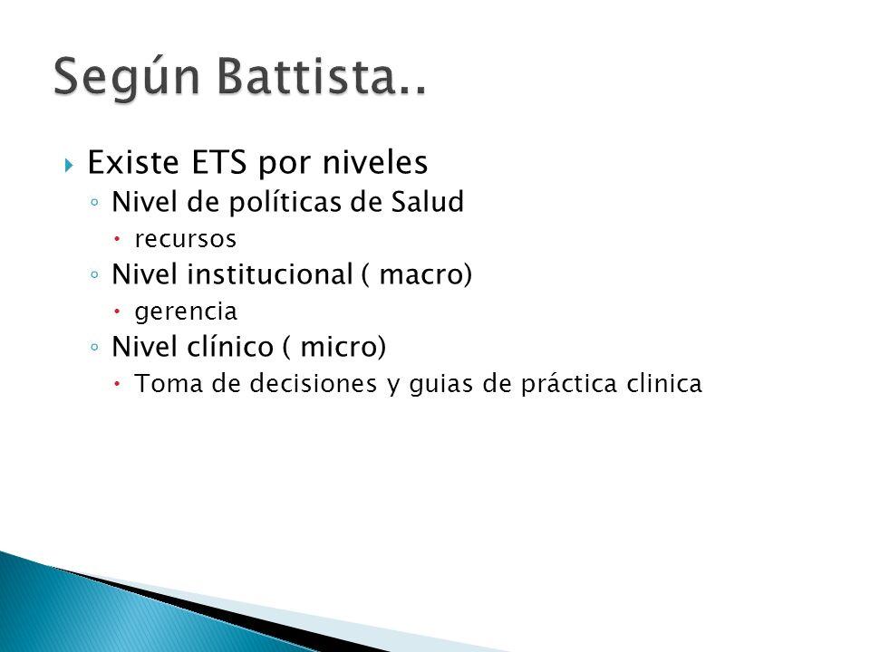 Existe ETS por niveles Nivel de políticas de Salud recursos Nivel institucional ( macro) gerencia Nivel clínico ( micro) Toma de decisiones y guias de