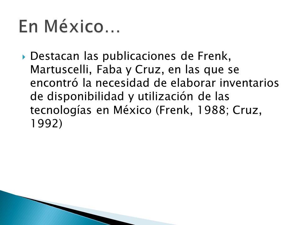 Destacan las publicaciones de Frenk, Martuscelli, Faba y Cruz, en las que se encontró la necesidad de elaborar inventarios de disponibilidad y utiliza