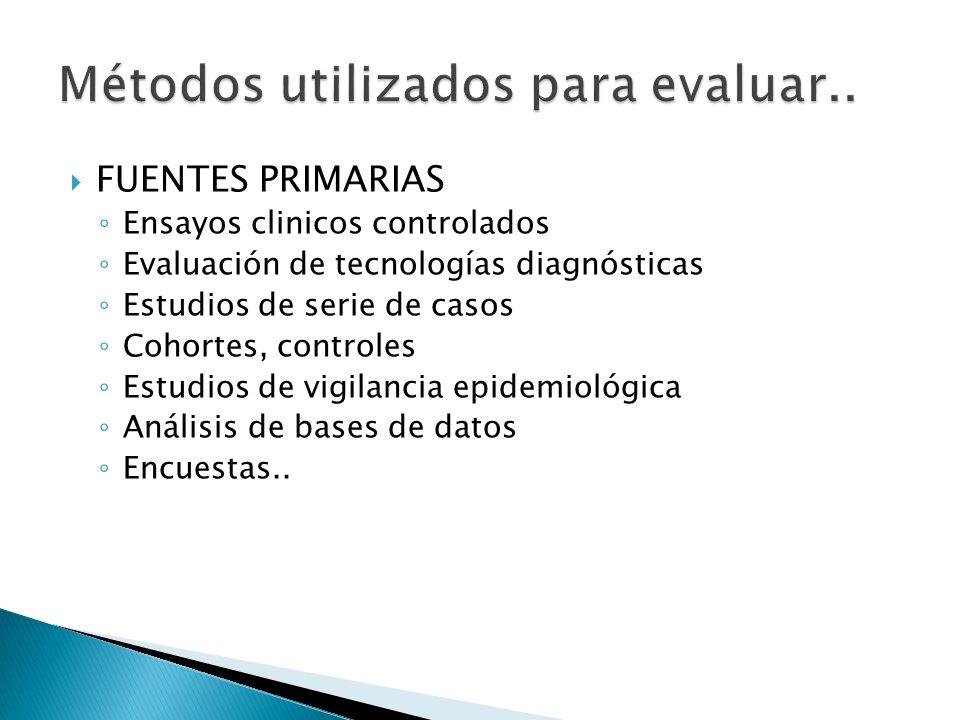 FUENTES PRIMARIAS Ensayos clinicos controlados Evaluación de tecnologías diagnósticas Estudios de serie de casos Cohortes, controles Estudios de vigil