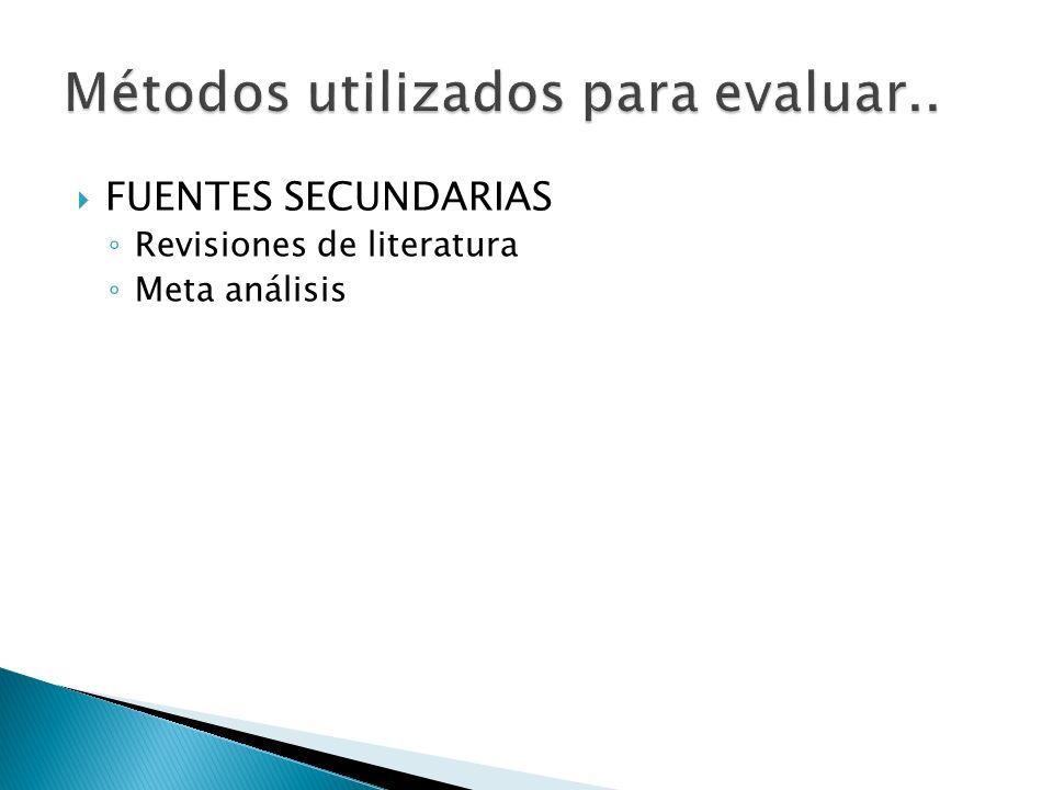 FUENTES SECUNDARIAS Revisiones de literatura Meta análisis